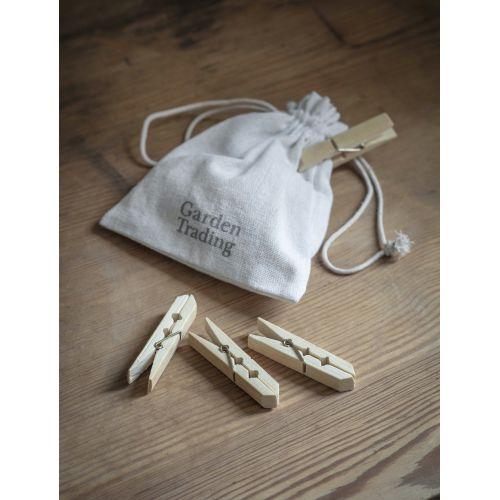 Pytlík s kolíčky z bambusového dřeva - 12 ks
