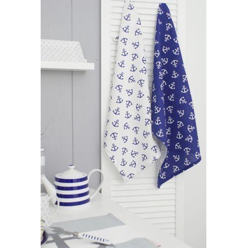 Bavlněná utěrka Anchor Blue & White