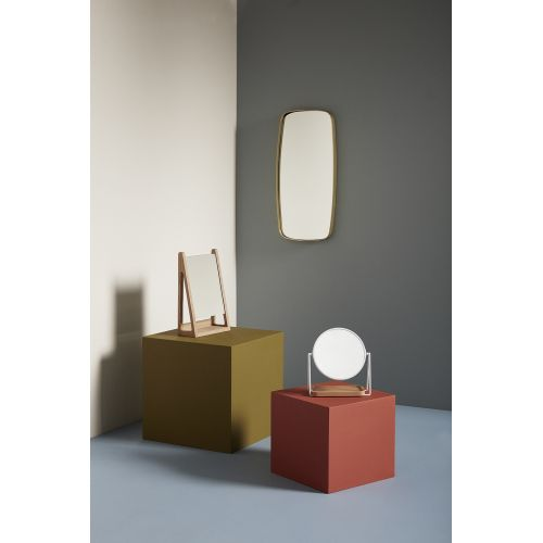 Stolní zrcadlo s dřevěným táckem White