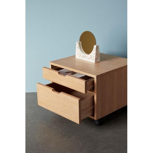 Dubový úložný box s kolečky a zásuvkami Oak