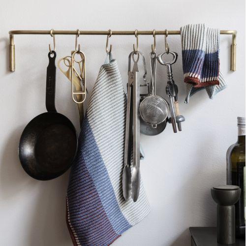 Mosazná tyč do kuchyně + 6 háčků Brass