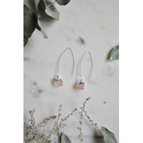 Visací náušnice Mini Rose Quartz/Silver
