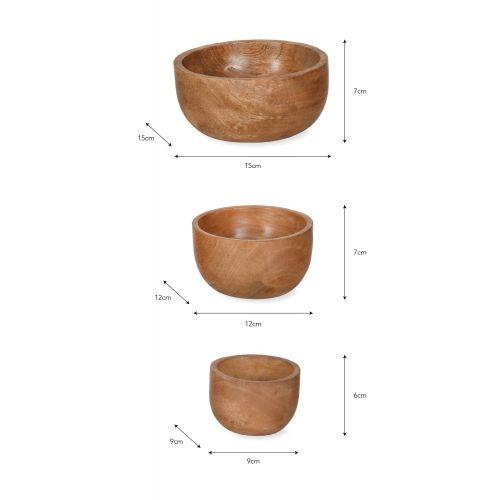 Miska z mangového dřeva Midford - set 3 ks