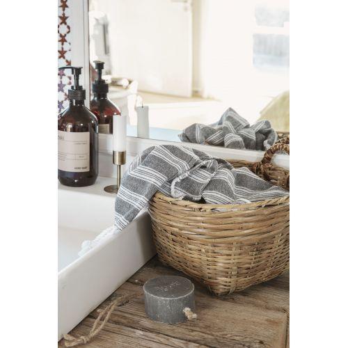 Bavlněný ručník Hammam Black 90 x 45 cm
