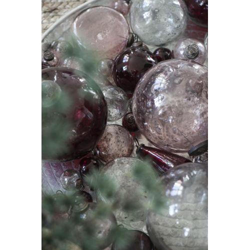 Plochá vánoční baňka Pebbled Glass Rose