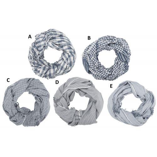Dámský šátek s třásněmi Blue checkered/striped