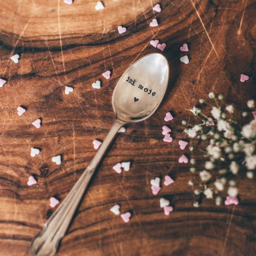 Postříbřená čajová lžička Jsi moje srdce
