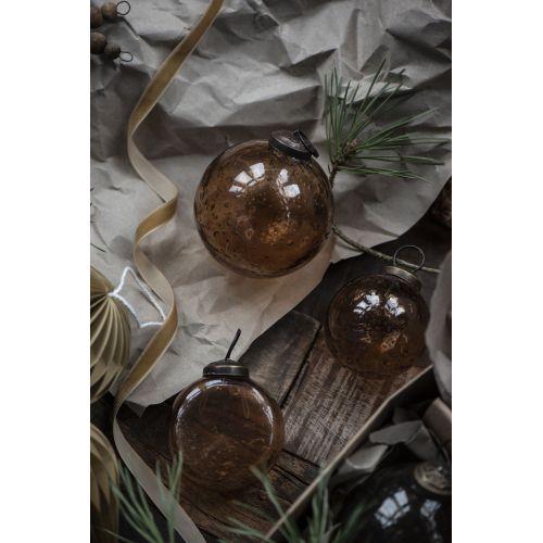Vánoční baňka Pebbled Glass Amber 8cm
