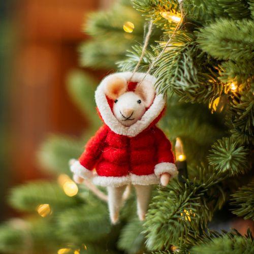 Plstěná vánoční ozdoba Mouse in Puffer Jacket