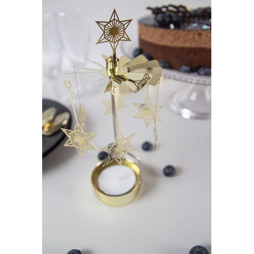 Rotující svícen Art Deco Star Gold