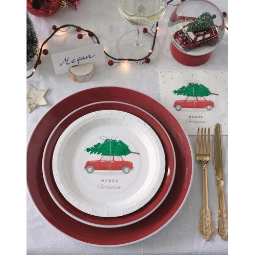 Vánoční papírové talíře Red Car - set 12ks