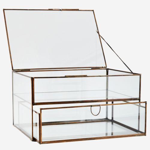 Dvoupatrový skleněný box s šuplíkem Antique Brass
