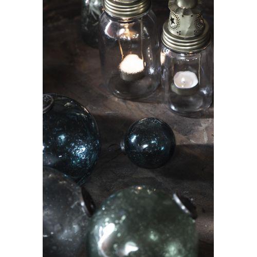 Vánoční baňka Pebbled Glass Petrol 9,5 cm