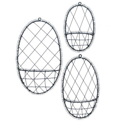 Závěsné drátěné vajíčko na dekorace Grey