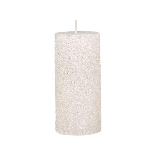 Kulatá svíčka Rustic Glitter Cream 11 cm