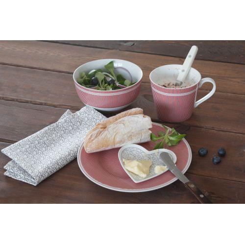 Porcelánový dezertní talíř Pinstripe Red