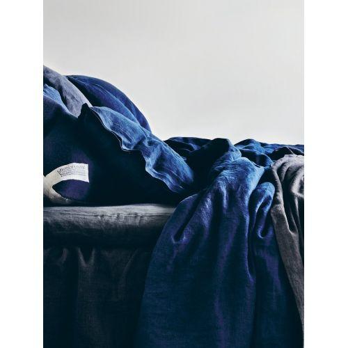 Přírodní lněné povlečení Midnight Blue