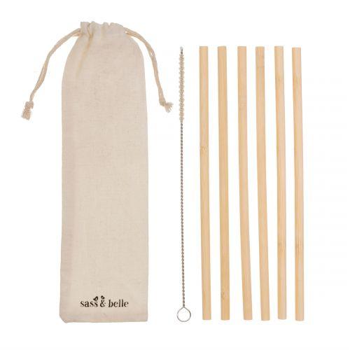 Bambusová brčka s kartáčkem - set 6 ks