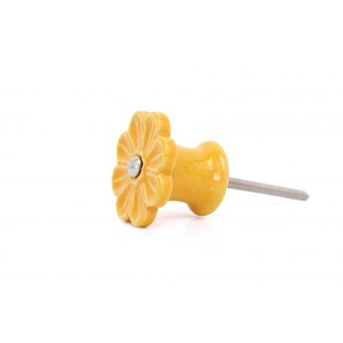 Porcelánová úchytka Flower yellow
