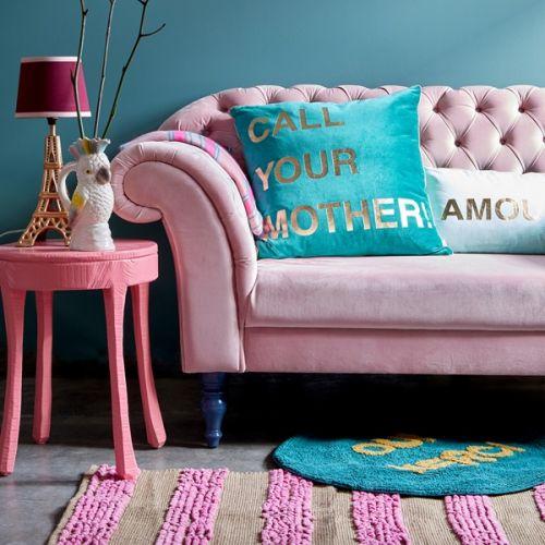 Obdélníkový kobereček Pink & Natural Stripes