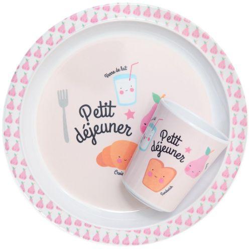 Dětský melaminový talířek Petit déjeuner Pink