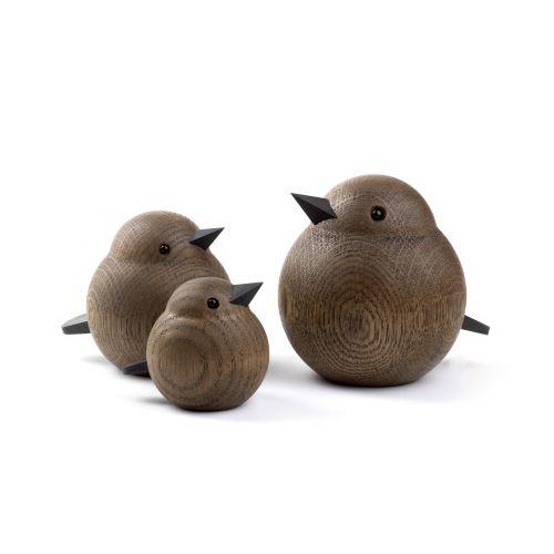 Dřevěný ptáček Mama Sparrow Smoke Stained Oak