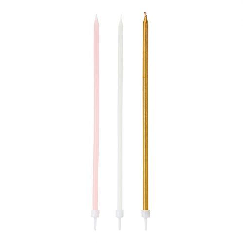 Tenké dortové svíčky Pink Candles 16 ks
