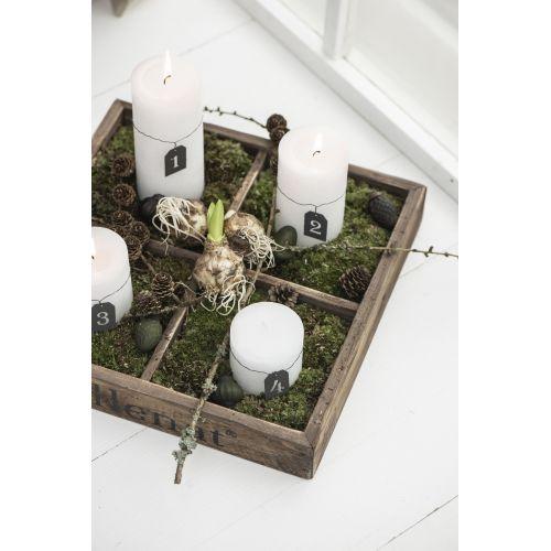 Kulatá svíčka Rustic White 14 cm