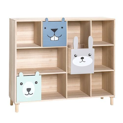 Knihovna s šuplíky Animals Blue