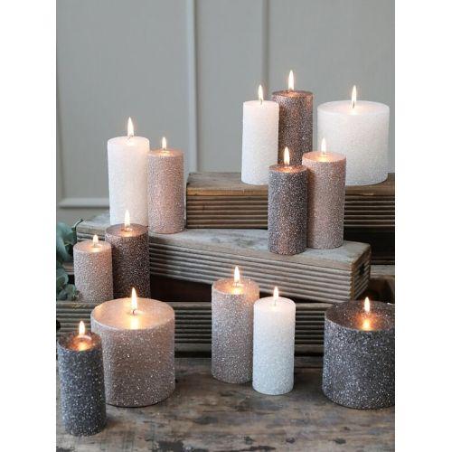 Kulatá svíčka Rustic Glitter Powder 12 cm