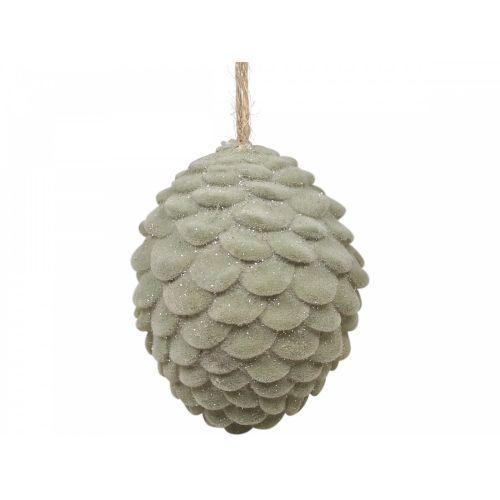 Velurová vánoční ozdoba Pinecone Verte 4,5 cm