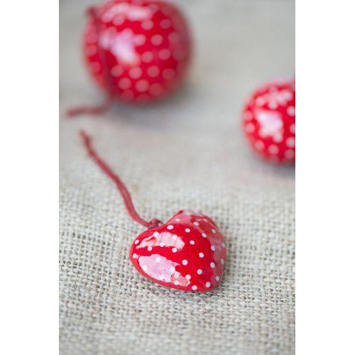 Vánoční mini ozdoba Heart Red/grey dot