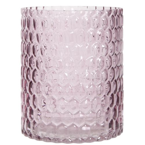 Svícen light pink glass