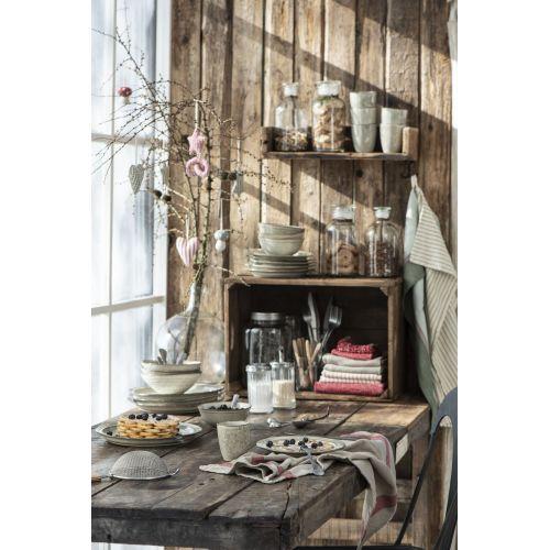 Bavlněná kuchyňská utěrka Taupe & Red Stripes