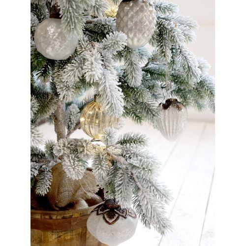 Vánoční baňka Antique Stripe Decor White 11 cm