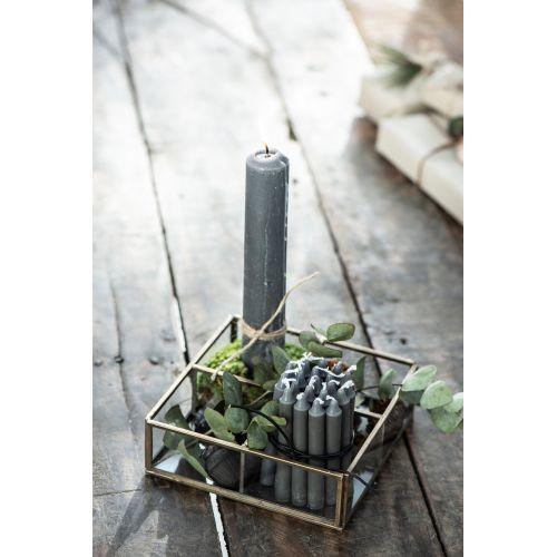 Úzká svíčka Dark grey 10 cm - set 10 ks
