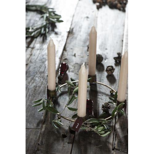 Dřevěné štítky na adventní věnec Red - set 4 ks