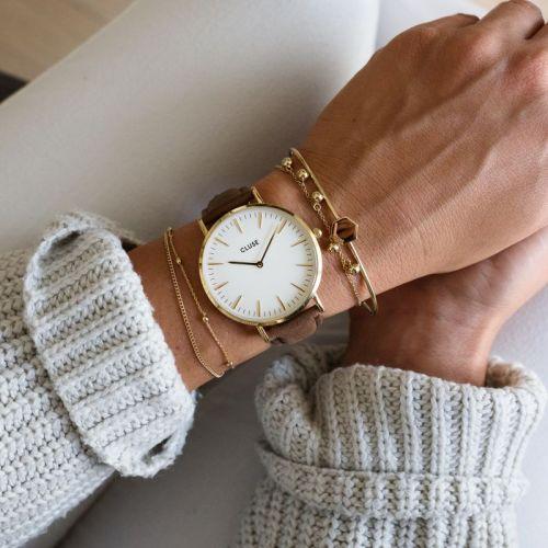 Hodinky Cluse La Bohème Gold White/Brown