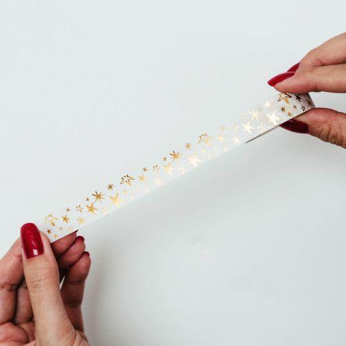 Papírová lepicí páska Zlaté hvězdičky