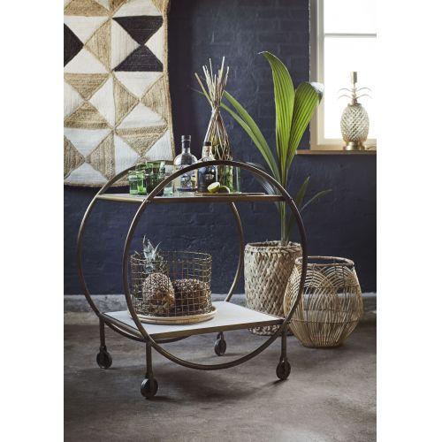 Drátěný koš Antique Brass/Bamboo