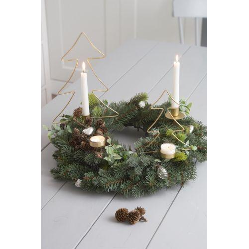Vánoční zapichovací svícen Tree Brass