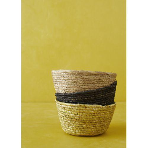 Slaměný košíček Natural/Black/Lemon 15 cm