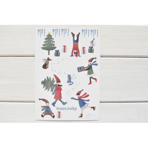 Vánoční pohlednice Skřítci