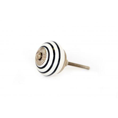 Porcelánová úchytka Black stripe