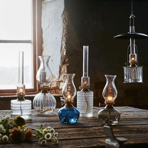 Skleněná petrolejová lampa Straight Frost High