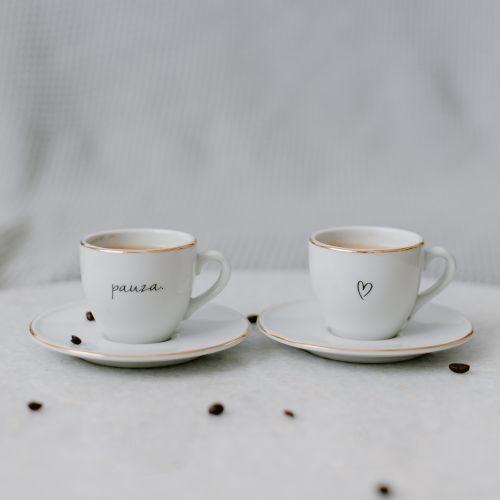 Šálek na espresso s podšálkem Srdíčko