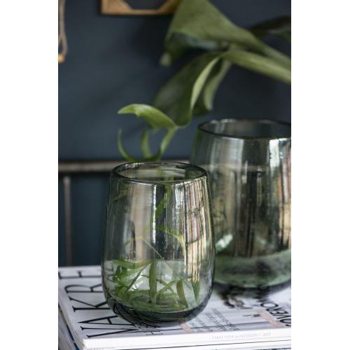 Skleněná váza Bubbles Olive 15 cm