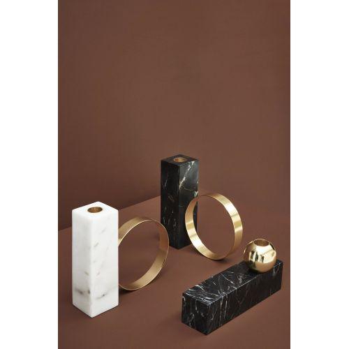 Designový svícen White Marble & Brass