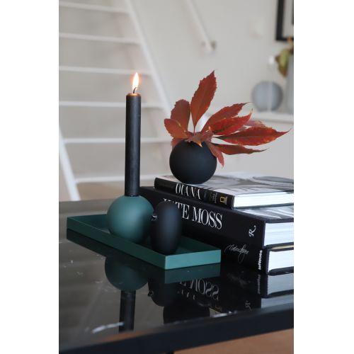 Dřevěný svícen Ball Dark Green 8cm
