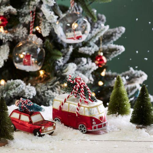 Skleněná dekorace Red Van with Tree